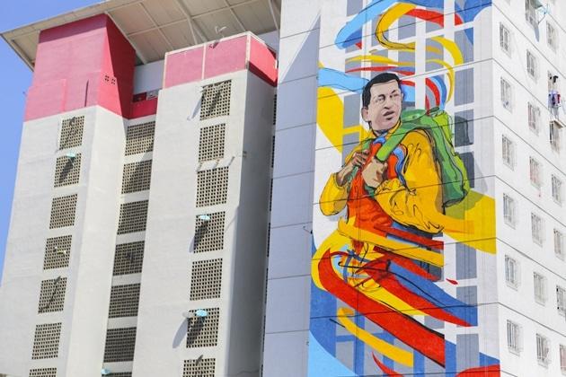 Graffiti collective Comando Creativo's Hugo Chavez mural in a new housing complex in Catia, Caracas. (Comando Creativo)