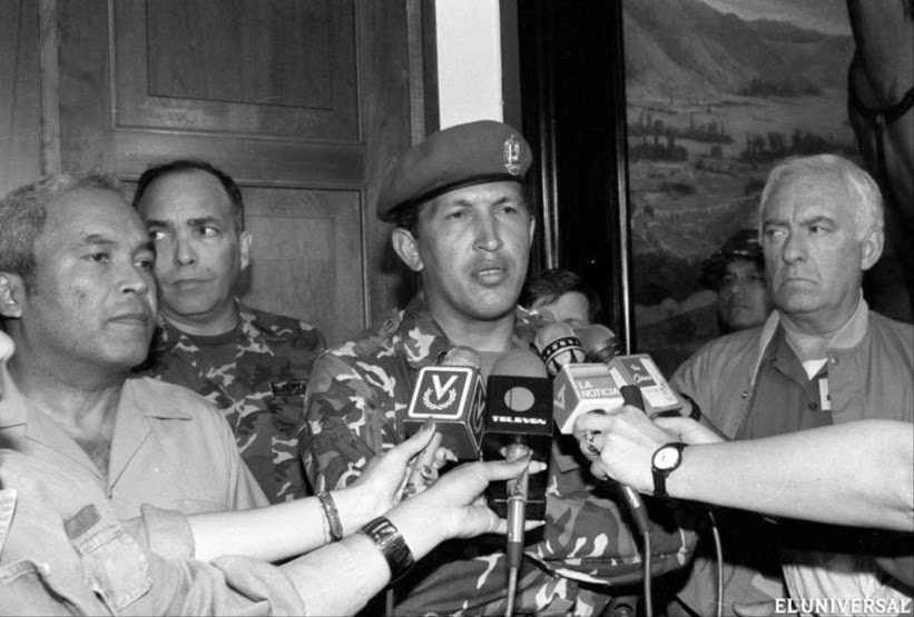 "Hugo Chavez on February 4, 1992, in his famous ""Por ahora"" (For now"") speech after the failed military insurrection which secured his place in the popular imagination. (Archive)"