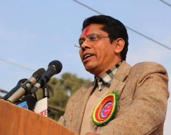 Prakanda speaking at a rally