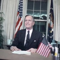 President George H.W. Bush addresses the nation from the Oval Office on Jan. 16, 1991, after U.S. forces began military action against Iraq, code-named Operation Desert Storm. Photo- Charles Tasnadi:AP
