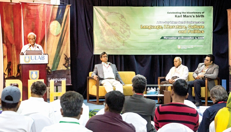 Professor Serajul Islam Choudhury delivering inauguration speech of the conference at University of Liberal Arts Bangladesh on Friday, November 30, Dhaka