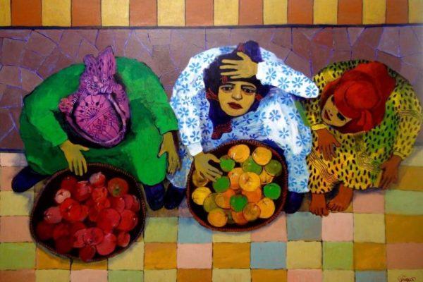 Painting is by Hakim al-Hakel, one of Yemen's most distinguished artists. He is now in exile in Jordan.