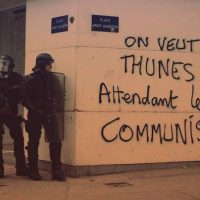Picture above was taken in Paris. The slogan on the wall is emblematic of the mood- we want cash while waiting for Communism.