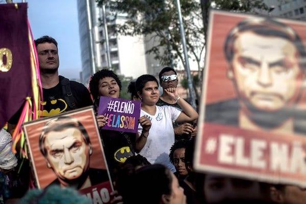 Protestors Rally Against Brazilian Presidential Candidate Jair Bolsonaro