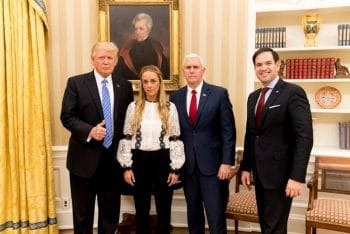Donald Trump, Mike Pence and Sen. Marco Rubio meet with the wife of US-backed Venezuelan opposition leader, Leopoldo Lopez. White House Photo