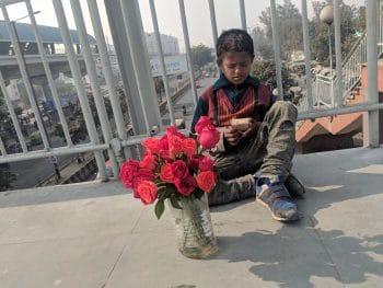 A child who sells flowers near Kaushambhi metro station