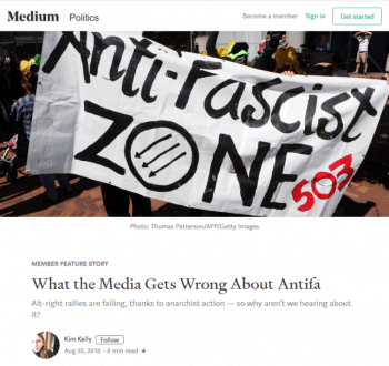 "Kim Kelly (Medium, 8/30/18) reports that ""white nationalists, white supremacists and other far-right hate groups' rally numbers are dwindling as the opposition to them grows broader and more militant."""