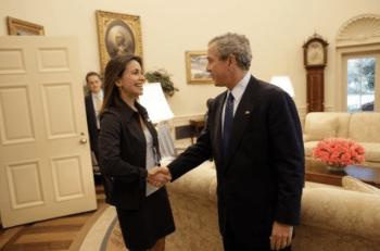 Machado and George W. Bush, 2005