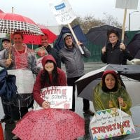 Writers Guild West members join striking teachers inLos Angeles