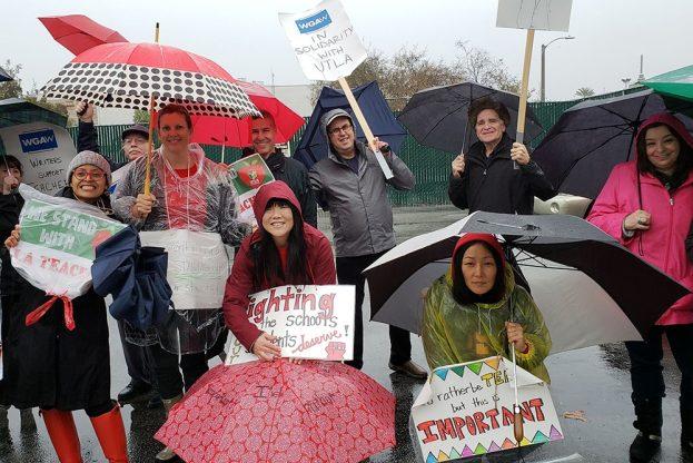 Writers Guild West members join striking teachers inLos Angeles