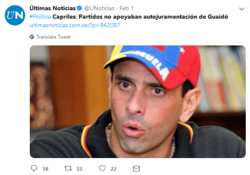 "Últimas Noticias on Twitter (2:1:19)- ""Capriles- The Parties Weren't Supporting the Auto-Inauguration of Guaidó"""