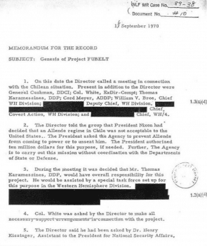 CIA memorandum on Project FUBELT