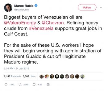 Tweet from US Senator Marco Rubio