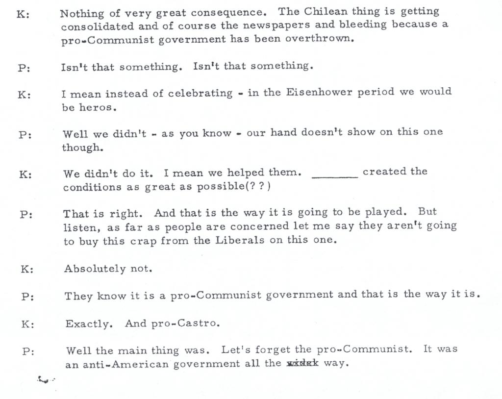 Phone Call between Richard Nixon (P) and Henry Kissinger (K)