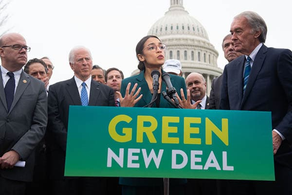 U.S. Representative Alexandria Ocasio-Cortez, Democrat of New York, and US Senator Ed Markey (R), Democrat of Massachusetts