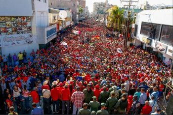 Massive Chavista march in the city of Porlamar on February 8. Photo- Twitter