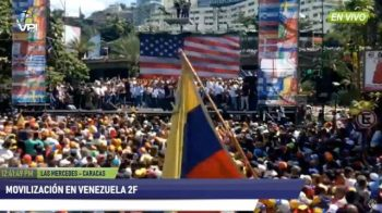 Opposition march with a US flag as stage backdrop. Caracas, February 2, 2019. (Archive)
