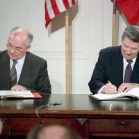 President Ronald Reagan and Soviet General Secretary Gorbachev signing the INF Treaty in the East Room of the White House on December 8, 1987. Credit- Ronald Reagan Presidential Library