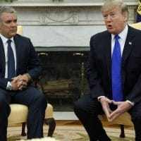 "Trump reiterated that ""all options are on the table"" concerning Venezuela during a meeting with Ivan Duque (Evan Vucci : AP)"