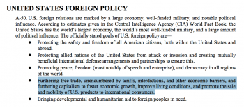 US foreign policy goals outlined in the ARSOF Unconventional Warfare manual