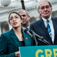 Rep. Alexandria Ocasio-Cortez speaks alongside Sen. Ed Markey at a news conference about the Green New Deal, in Washington, Feb. 7, 2019. Photo: Pete Marovich/Redux