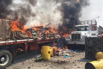 | Supplies burned by opposition supporters | MR Online