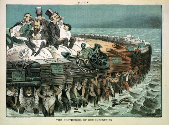 A political cartoon from 1883, depecting four notable Robber Barons being supported by their workers. Is this image a hate crime? Will it be described as such soon?