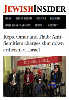 As originally reported (Jewish Insider, 2/28/19), Ilhan Omar's remarks were about how charges of antisemitism shut down criticism on Israel/Palestine.