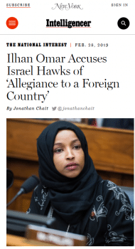 "Omar didn't accuse ""Israel hawks"" of having ""allegiance to a foreign country"" (New York, 2/28/19); she said that allegiance was being demanded, implicitly of lawmakers like herself."