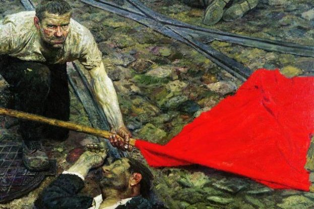"""""""Picking up the Banner 1957–1960"""" painted by Gely Mikhailovich"""
