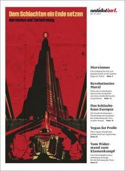 """Cover of Antidot- """"Dem Schlachten ein Ende setzen – Marxismus und Tierbefreiung, December 2014"""