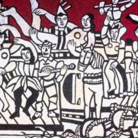 Fernand Léger mosaic, Grand parade with red background (1985)