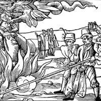 Hexenverbrennung zu Dernburg im Jahre 1555 (zeitgenˆssischer Stich). Der Hexenwahn in Europa erreichte vor 400 Jahren einen traurigen Hˆhepunkt. Ganze Dorfgemeinschaften zerfielen auf dem Scheiterhaufen, bestialische Foltern zur Erzwingung von Gest‰ndnissen gerieten zur Kunstform, und die Erdrosselung vor dem Tod galt noch als eine grofle Gnade. (Zu dpa lhe und lrs 001 vom 31.10.1995.)