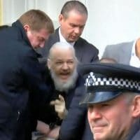 Julian Assange Outside the Gate of Hell