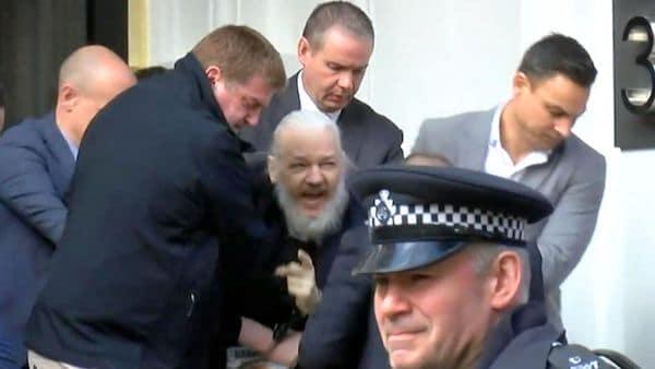 Julian Assange Outside the Gate of Hell