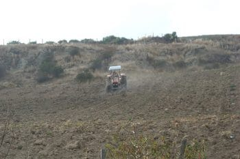 Plowing on steep land is difficult