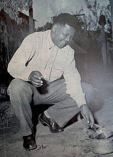 Nelson Mandela burns his Dompass in 1960