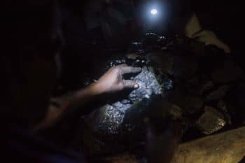 "Miners loading up coal in an ""illegal"" mine in Mpumalanga, South Africa"