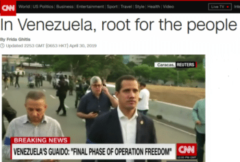 "The CNN column (4/30/19) helpfully clarifies: ""Rooting for the Venezuelan people means hoping that Maduro will step down peacefully."""