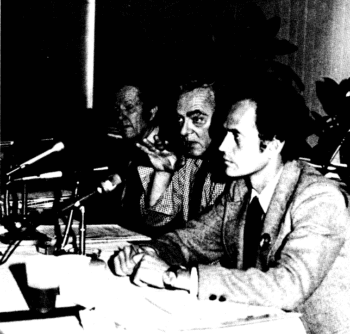 Harrington debates Trotskyist Peter Camejo on Jimmy Carter at Queens College, 1976