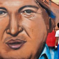 Mural of Chávez in Caracas. (Univision)