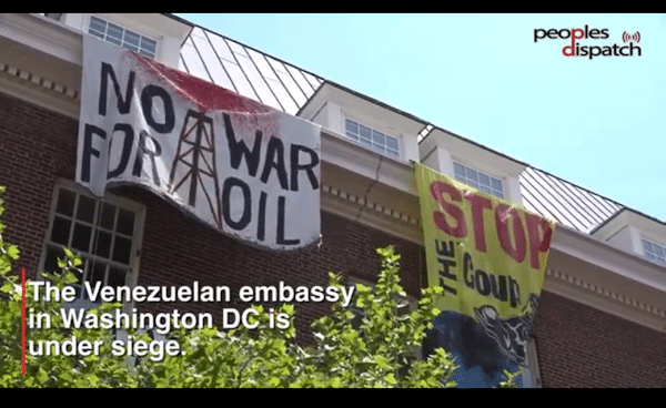 Activists defy right-wing siege at Venezuelan embassy in Washington DC