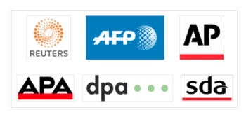 The three global news agencies Reuters, AFP and AP, and the three national agencies of the German-speaking countries of Austria (APA), Germany (DPA) and Switzerland (SDA).
