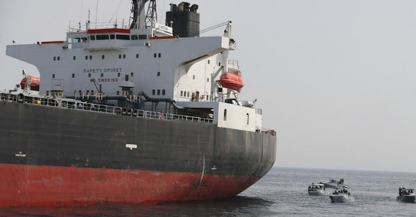 The Al Marzoqah oil tanker on Monday, a day after it was attacked outside the Fujairah port in the United Arab Emirates. (Photo- EPA-EFE)