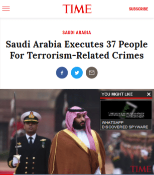 Time's headline (4/23/19) accepts the reality of the Saudi government charges against the people it executed–which weren't even the actual charges they were convicted under.