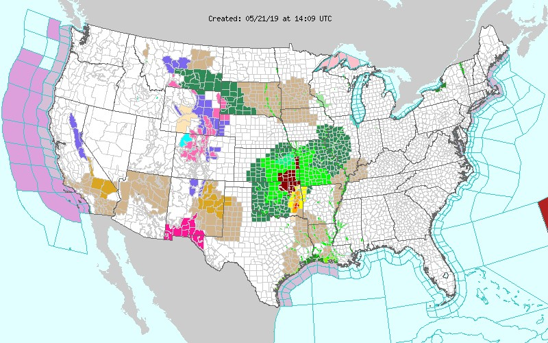 Active flood or flash flood warnings and advisories (in light green, dark green, and dark red) on May 21, 2019.