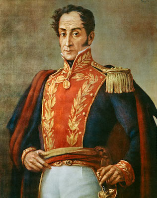 Simon Bolivar, El Libertador, Early 19th century South American who, along with Jose de San Martin, lead Latin America in the war of independence from The Spanish Empire. Bolivar is the symbol of Hugo Chavez's Bolivarian Revolution of the 21st century. Photo Wikipedia