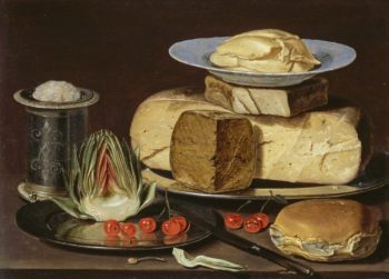 Clara Peeters Still Life with Cheeses, Artichoke, and Cherries, ca. 1625 Los Angeles County Museum of Art