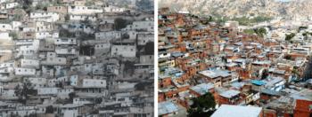 La Vega barrio in Caracas, left late 1970s, right contemporary. (Archive)
