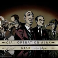 Operation AJAX cartoon from the book, Operation Ajax: The Story of the CIA Coup that Remade the Middle East. Mike de Seve (Author), Daniel Burwen (Illustrator), Stephen Kinzer (Foreword)